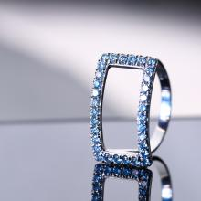 Blue diamond ring design by Danielle Barak